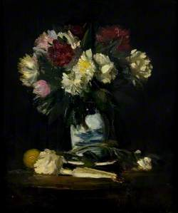 Roses in a White and Blue Vase
