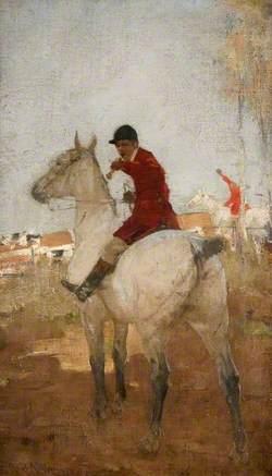 Two Huntsmen on Horseback, One Blowing a Horn