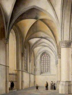 Interior of St Bavo's, Haarlem, with a Catholic Baptism
