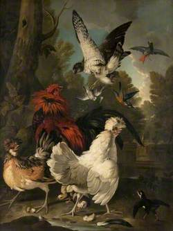 A Falcon Attacking Poultry