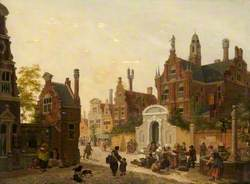 An Imaginary Dutch Street, with Figures by a Well