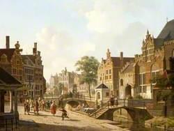 A Dutch Street, with Children Fighting