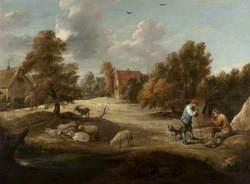 Landscape with Shepherds Outside a Village