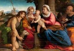 Virgin and Child with Saints John the Baptist, Peter and a Female Saint