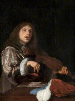 A Young Man Singing to a Violin
