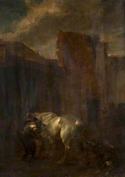 A Horse and a Farrier before an Archway