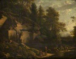 A Disused Quarry in a Wood, with Figures