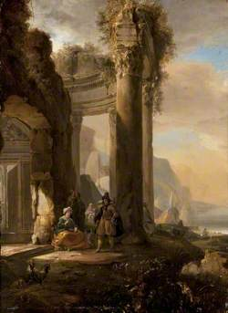 A Ruined Colonnade and Figures by a Harbour