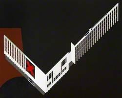 Black Elegy: Axonometric Facade with Red Cross