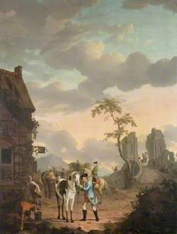 A Hunting Party at Rest by an Inn