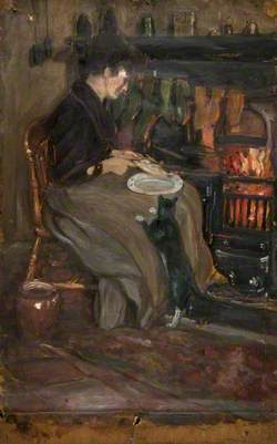 Seated Woman Gutting Fish by a Fire