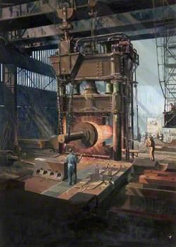 Steam Hammer and Ingot, Beardmore Forge, Glasgow