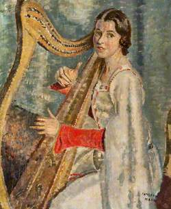 Heloise Russell-Fergusson (1896–1970) with a Clàrsach (Gaelic Harp)