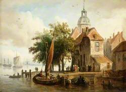 Dutch Scene with Boats and Figures
