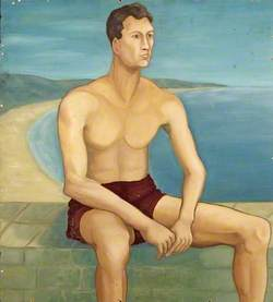 Portrait of a Seated Man Wearing Shorts, by the Coast