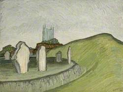 Stones at Avebury, Wiltshire, with the Church Beyond