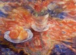 A Flower in a Pot and Apples on a Plate