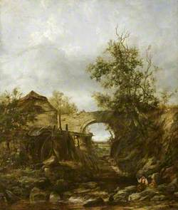 Landscape with a Bridge, a Water Mill and Boys Fishing