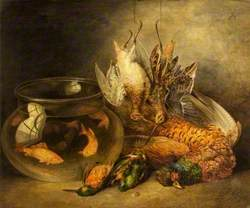 Still Life, Game and Hanging Snipe with Goldfish in a Bowl (Dead Game)