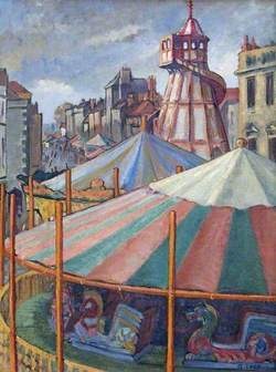 The Pleasure Fair in the Market Place, Warminster, Wiltshire