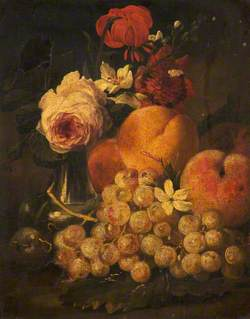 Flowers in a Pewter Vase, Grapes and Peaches