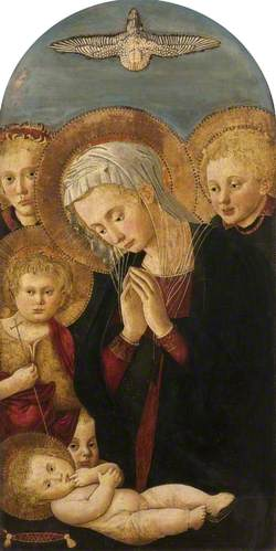 Madonna Adoring the Christ Child, with Saint John the Baptist and Angels