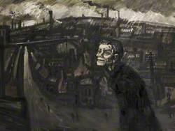 Man in Bleak Landscape