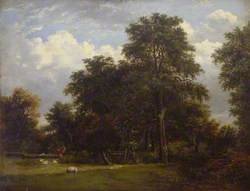 Wooded Landscape with Figures and Gate