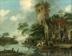 River Scene with a Ruined Tower on the Bank and Figures in Rowing Boats