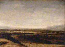 Flat Landscape with a View to Distant Hills