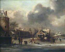 Skating Scene: Figures on the Ice near the Walls of a Town