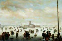Skating Scene with Numerous Figures on the Ice and an Island Fort