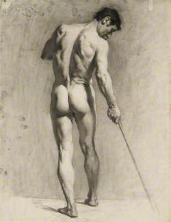 Life Drawing of a Male Nude with a Cane