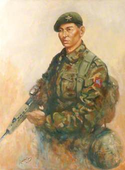 A Soldier of Queen Elizabeth's Own Gurkha Rifles on Duty in Kosovo