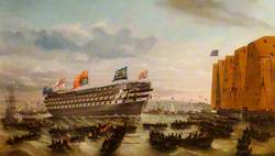 The Launching of HMS 'Royal Sovereign' at Portsmouth, 25 April 1857