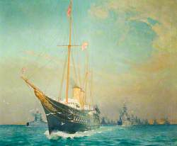 The Royal Yacht 'Victoria and Albert' Leading the Fleet off Weymouth, 1935