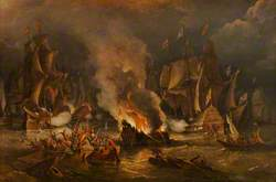 The Spanish Armada Driven out of Calais by Fire