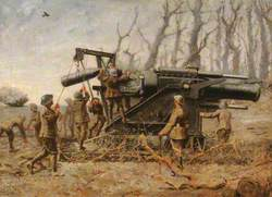 Royal Marine Artillery Howitzer in Action, 1914