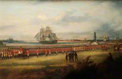 Military Review of the Worcestershire Regiment by Major-General Whitelocke on Southsea Common, 1823