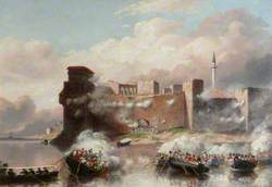 The Boats HM Frigates 'Carysfort' and 'Zebra' with 50 Royal Marines, Commanded by Lieutenant R. H. Harrison, Royal Marines, Attacking the Castle of Tortosa, 25 September 1840