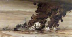 HMS 'Whitley' Coming to the Rescue of 'MV Inverlane', Badly Damaged and on Fire after the Convoy Entered a Mine Field in the North Sea, 14 December 1939