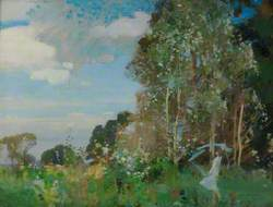Itchen Valley Landscape with Figure