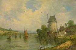River Scene with a Windmill