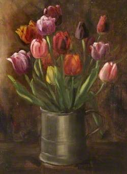Tulips in a Pewter Tankard