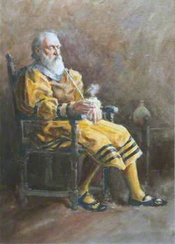 Old Man in Yellow, Smoking a Churchwarden Pipe