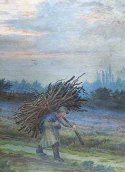 Man with a Bundle of Firewood in a Country Lane