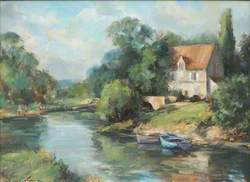 River Landscape with Boats, Dordogne