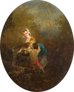 Girl, Boy, Donkey and Chickens in a Landscape