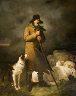Summer Storm: A Shepherd with His Dog and Sheep in a Stormy Landscape