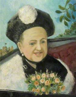 Portrait of a Woman Holding a Posy of Flowers
